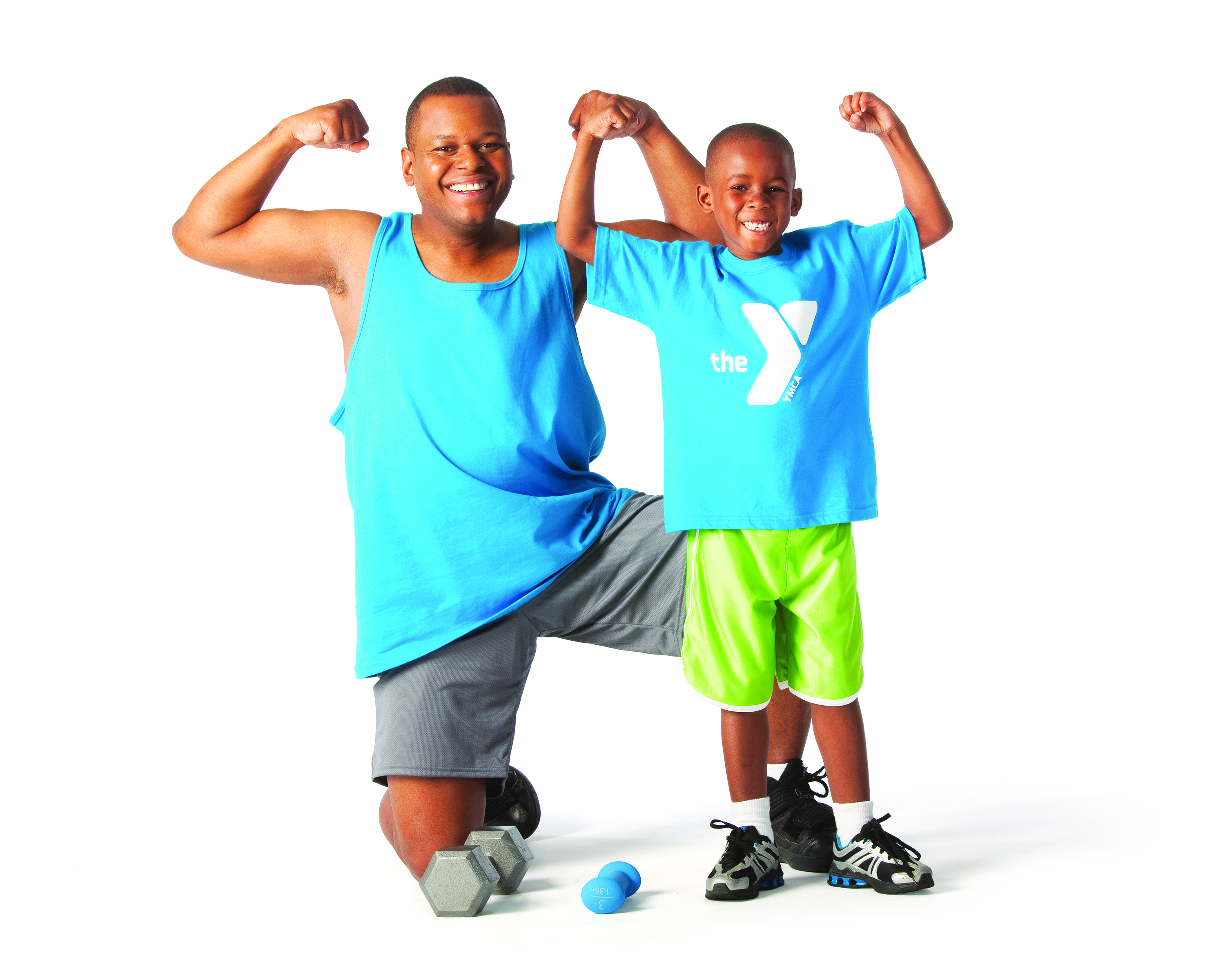 Son and Father Flexing Muscles